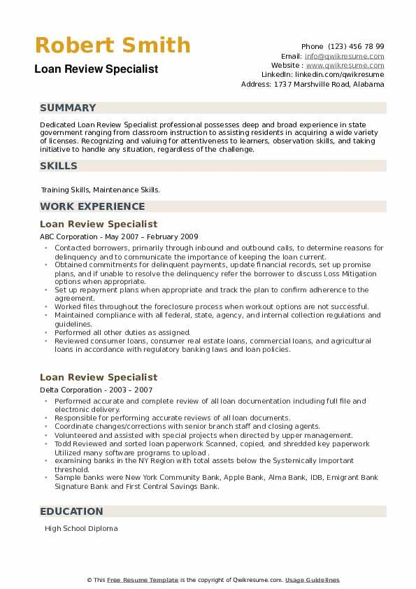 Loan Review Specialist Resume example