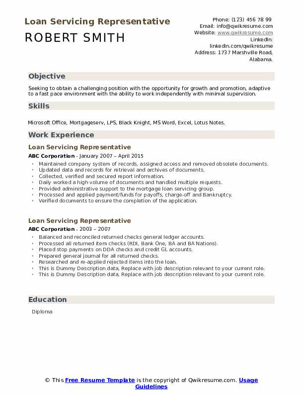 Loan Servicing Representative Resume example