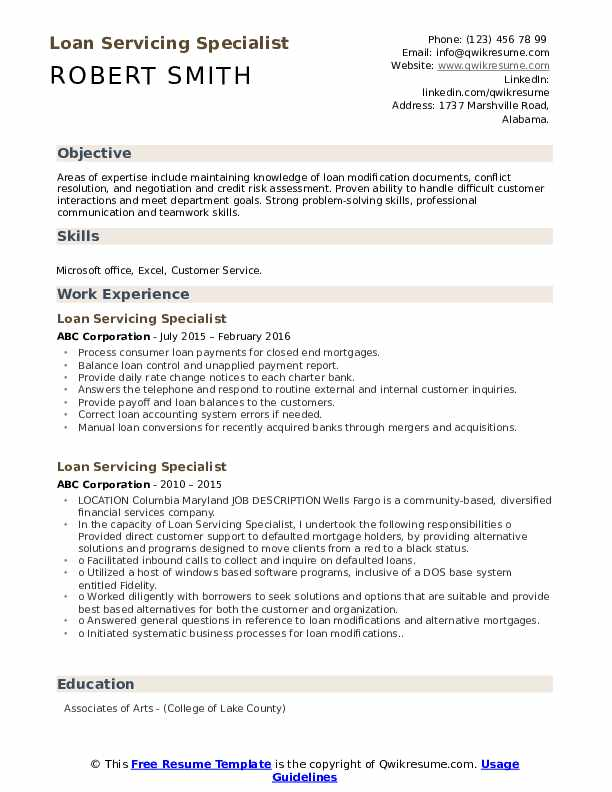 loan servicing specialist resume samples