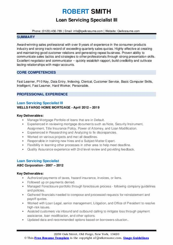 Loan Servicing Specialist III Resume Format