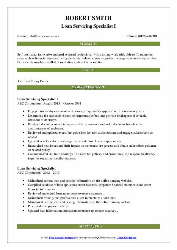 Loan Servicing Specialist I Resume Format