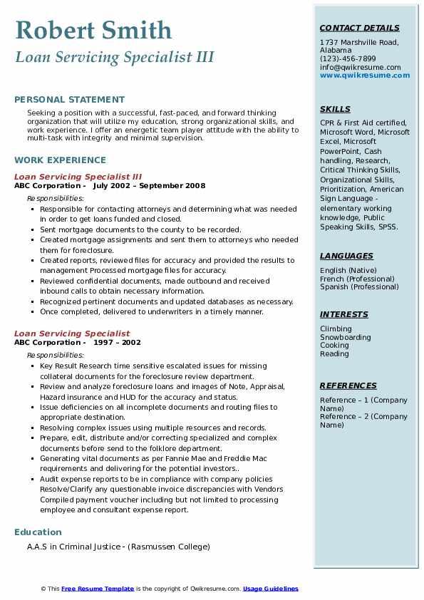 Loan Servicing Specialist III Resume Template