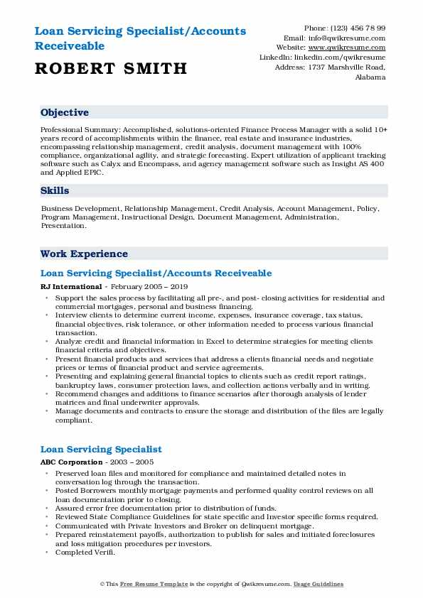 Loan Servicing Specialist/Accounts Receiveable Resume Template