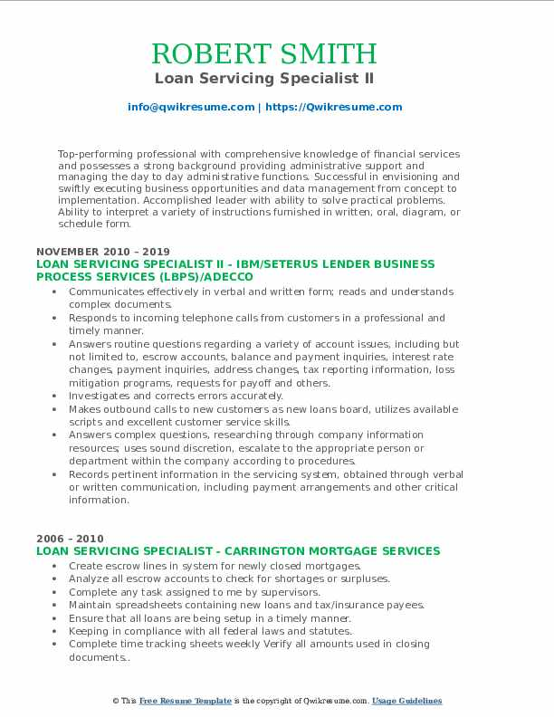 Loan Servicing Specialist II Resume Example