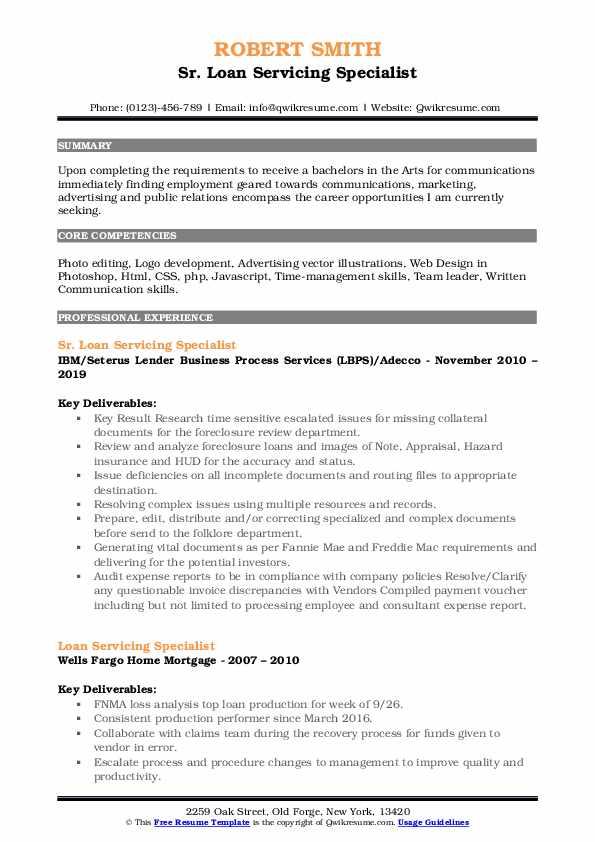 Sr. Loan Servicing Specialist Resume Template
