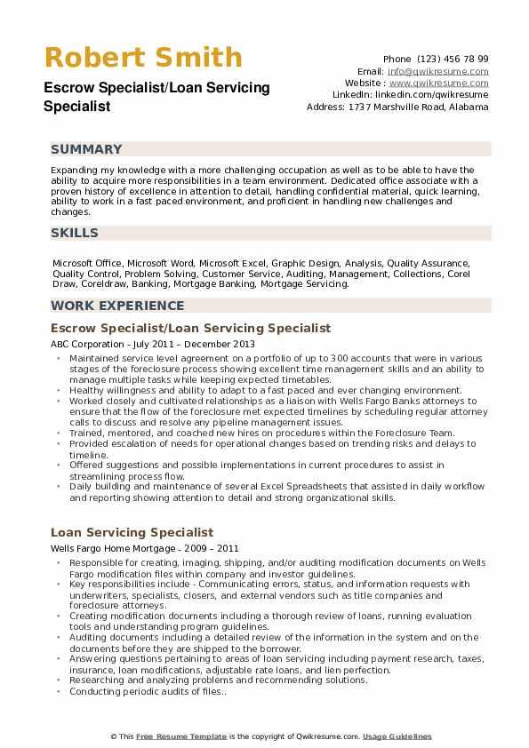 Escrow Specialist/Loan Servicing Specialist Resume Model