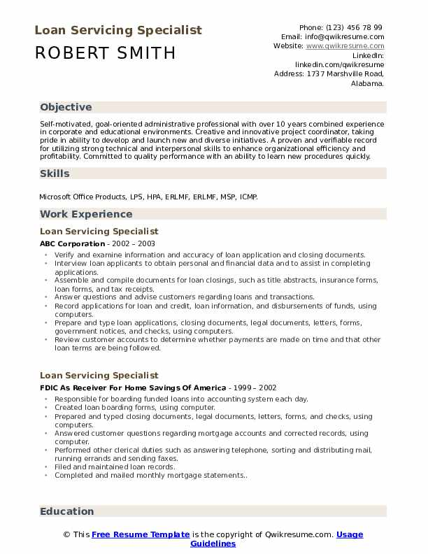 Loan Servicing Specialist Resume example