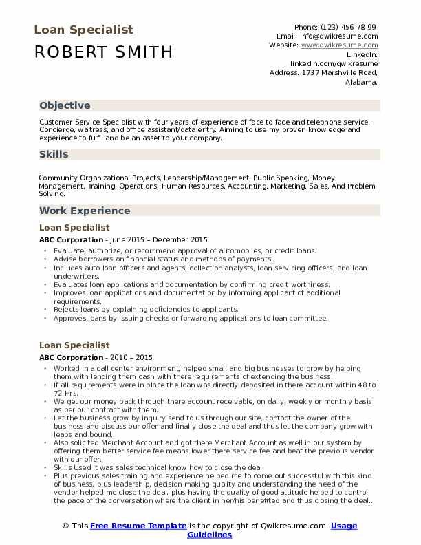 loan specialist resume samples