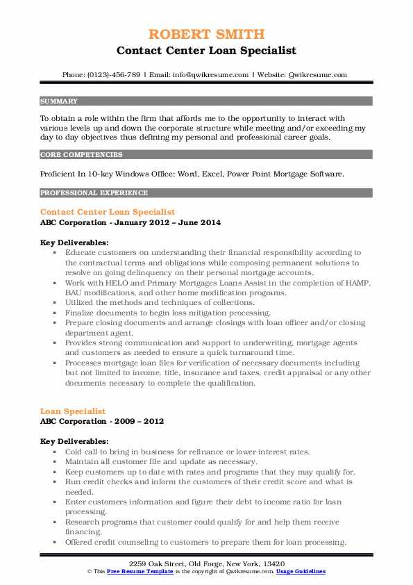 loan specialist resume samples