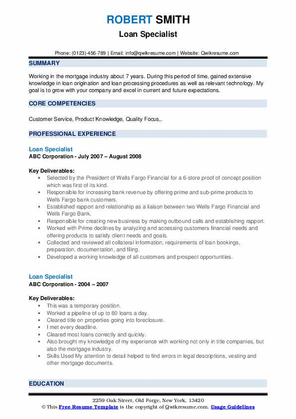 Loan Specialist Resume example
