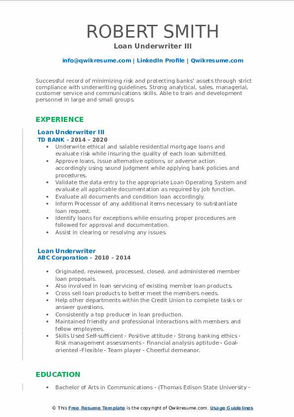 loan underwriter resume samples  qwikresume