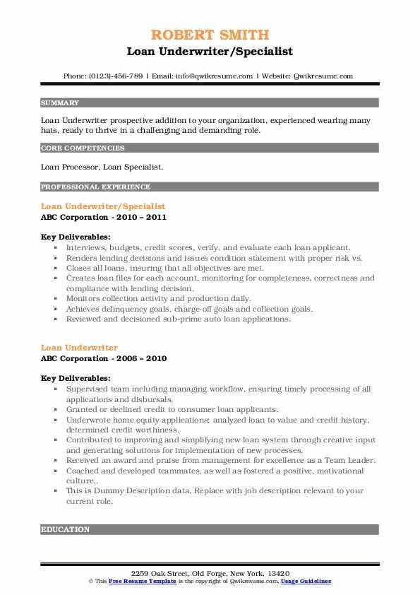 loan underwriter resume samples