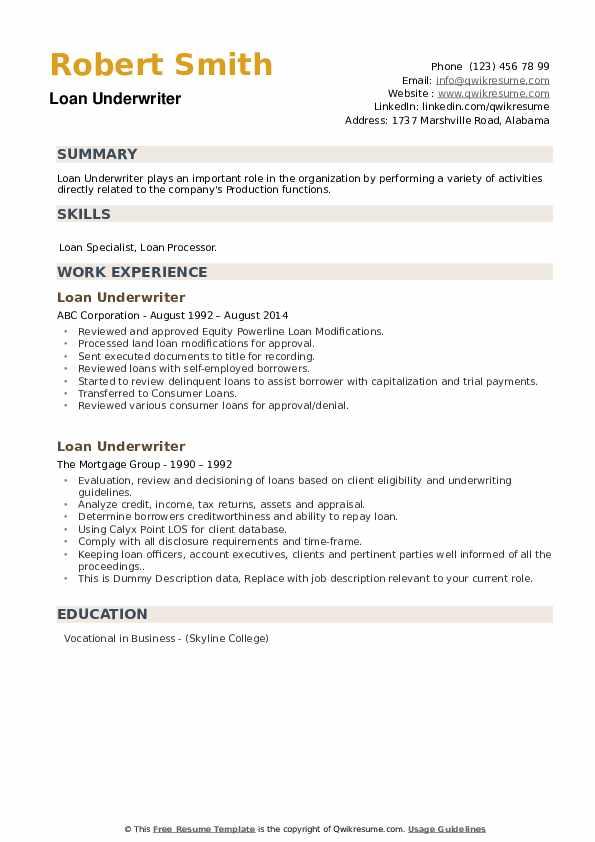 Loan Underwriter Resume example
