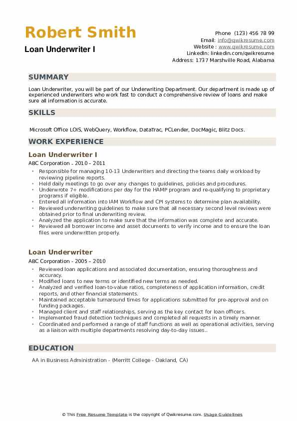 Loan Closer Resume example