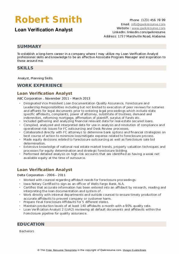 Loan Verification Analyst Resume example