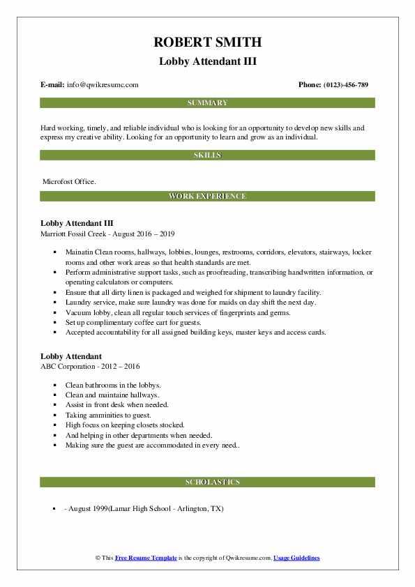 Lobby Attendant Resume Samples   QwikResume