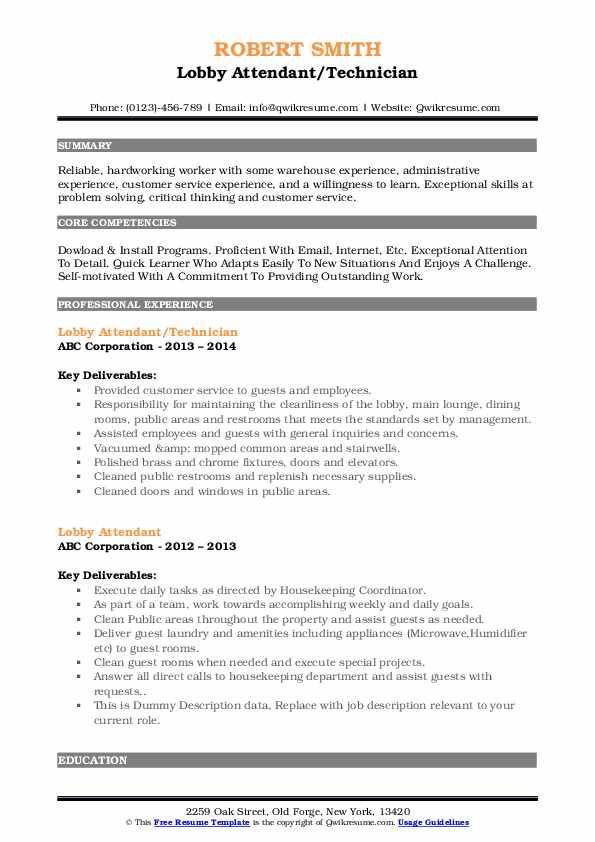 Lobby Attendant/Technician Resume Example