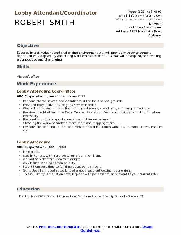 Lobby Attendant/Coordinator Resume Model