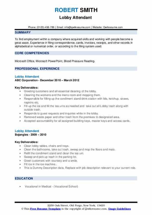Lobby Attendant Resume example