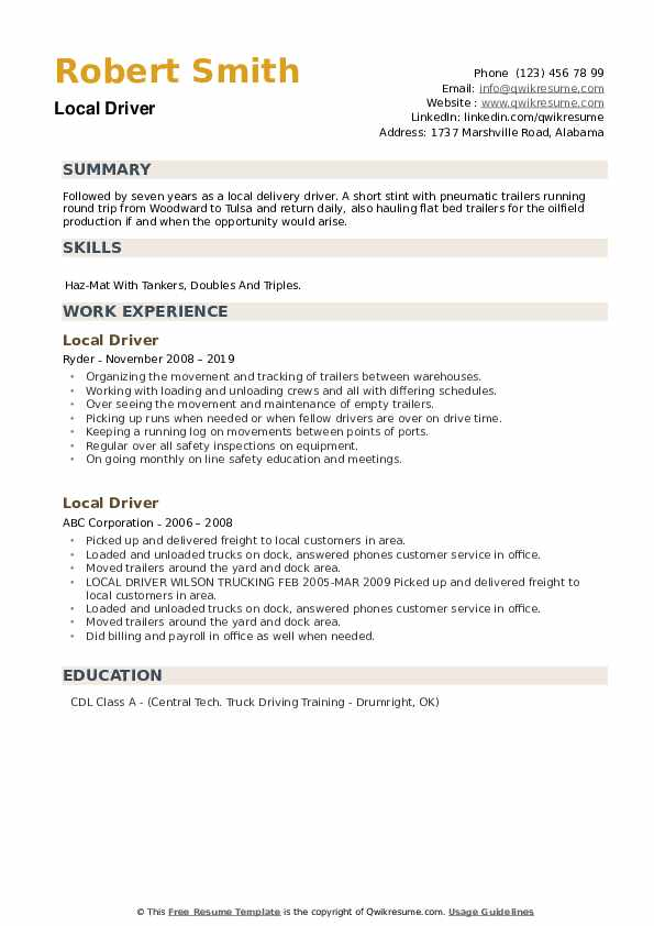 Local Driver Resume example