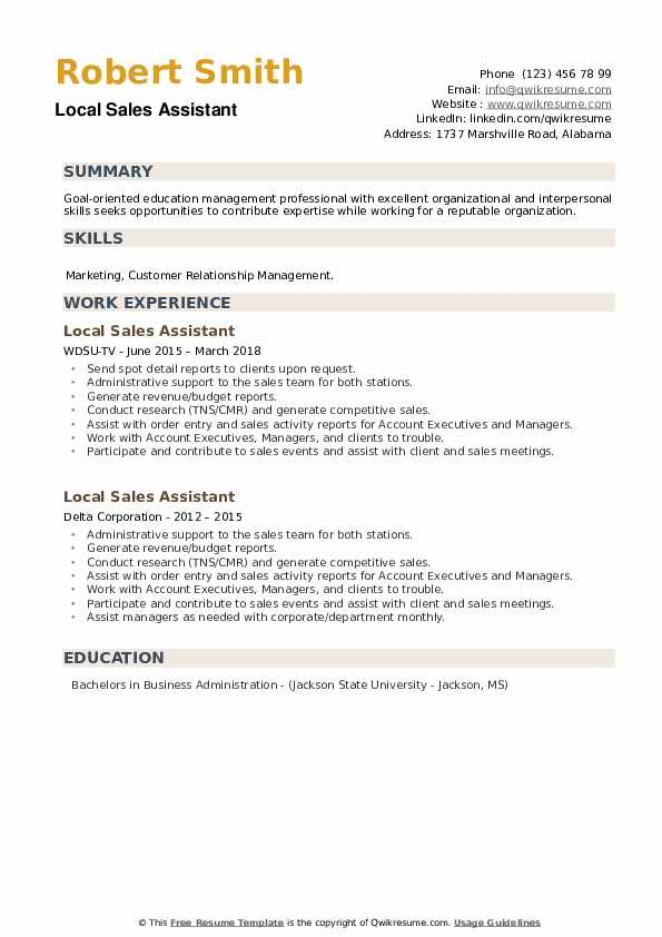 Local Sales Assistant Resume example