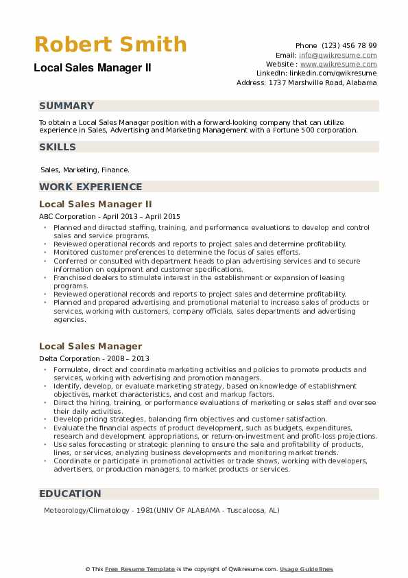 Local Sales Manager Resume example