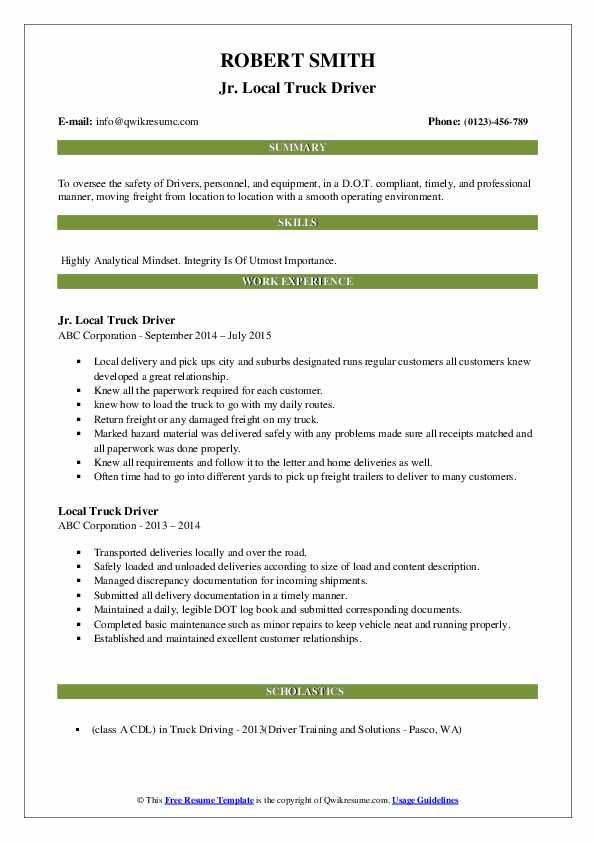 Jr. Local Truck Driver Resume Example