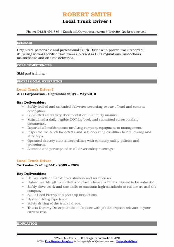 Local Truck Driver I Resume Template