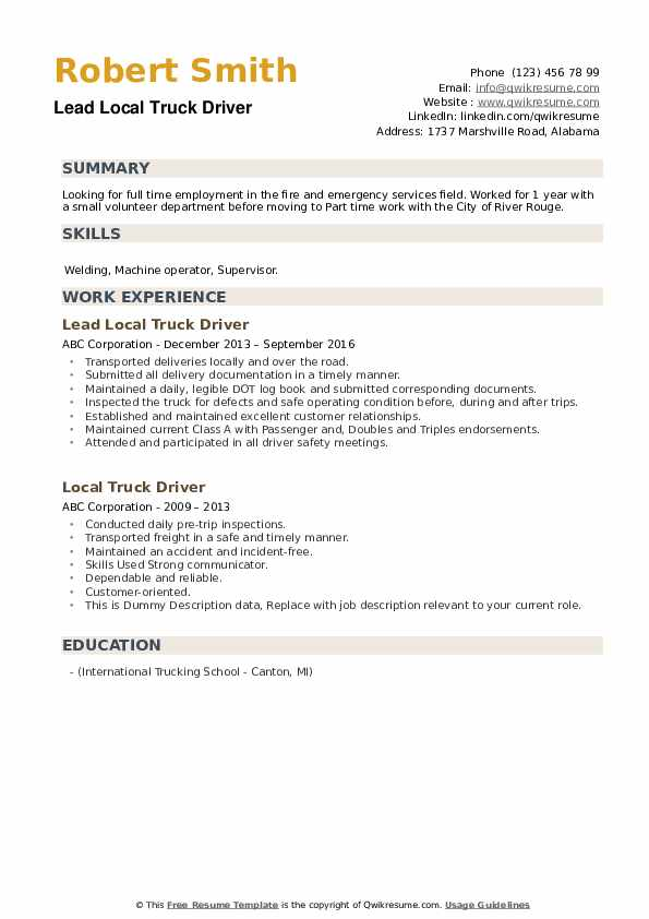 Lead Local Truck Driver Resume Template