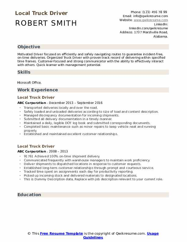 Local Truck Driver Resume example