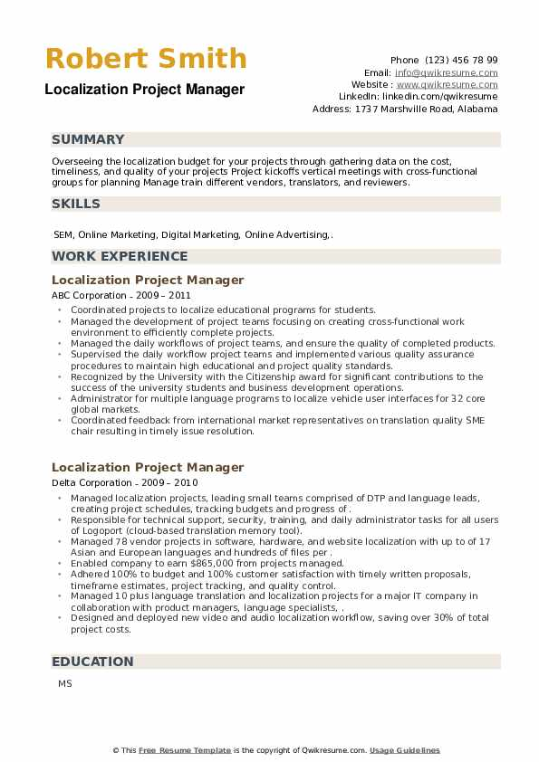 Localization Project Manager Resume example