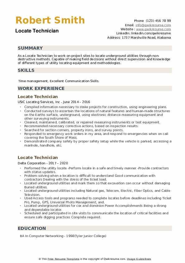 Locate Technician Resume example