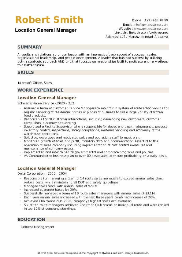 Location General Manager Resume example