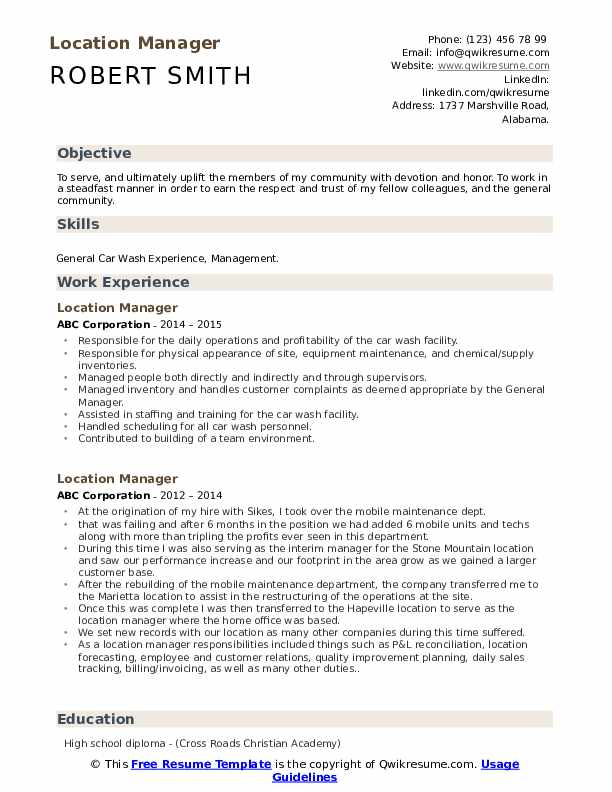Location Manager Resume Template