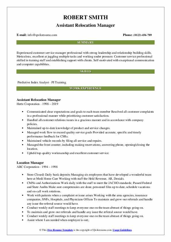Assistant Relocation Manager Resume Sample