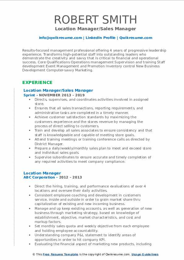 Location Manager/Sales Manager Resume Template