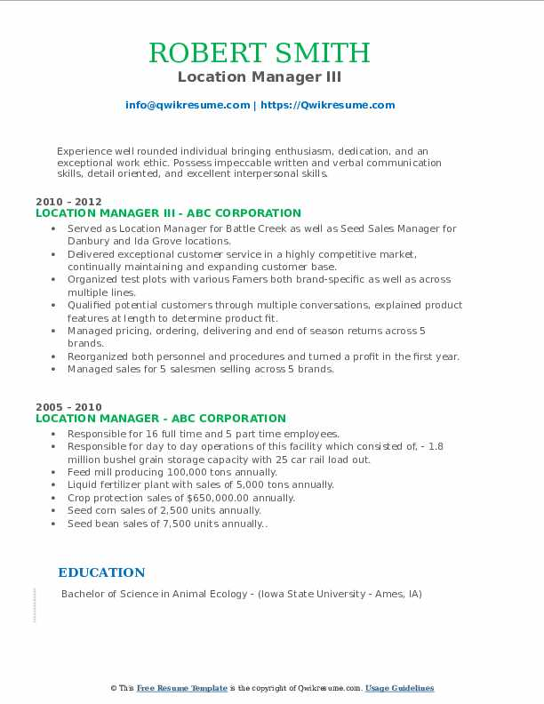 Location Manager III Resume Sample