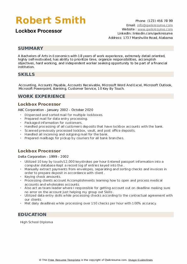 Lockbox Processor Resume example