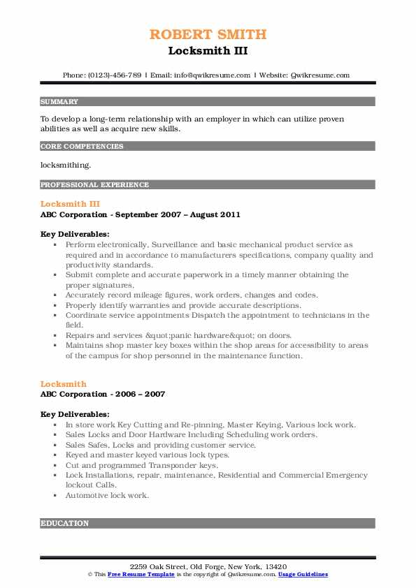 Locksmith Resume Samples Qwikresume