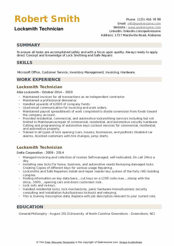 Locksmith Technician Resume example