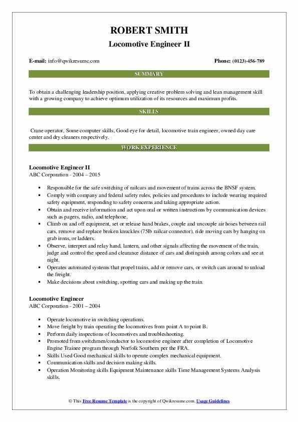 Locomotive Engineer II Resume Template