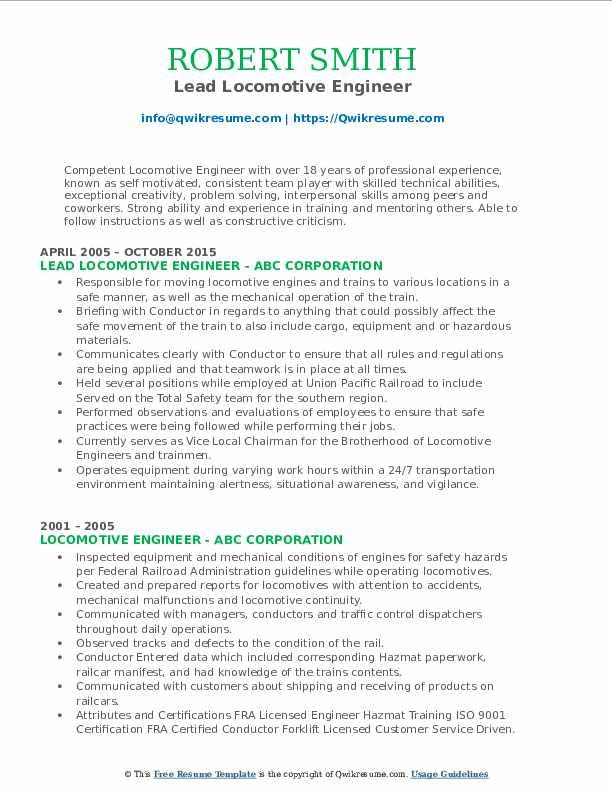Lead Locomotive Engineer Resume Example