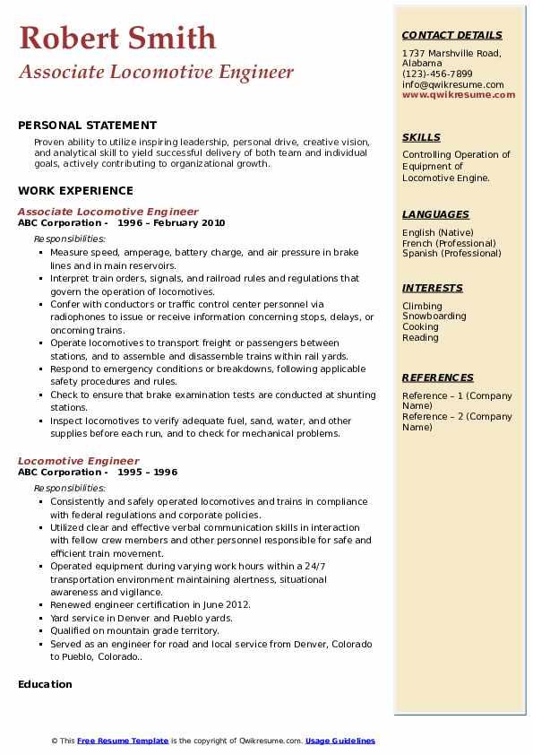 Associate Locomotive Engineer Resume Model