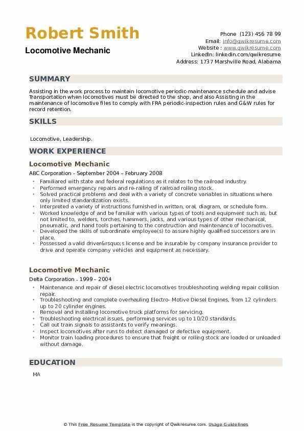 Locomotive Mechanic Resume example