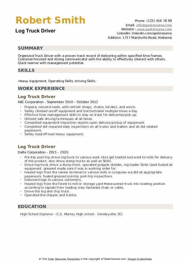 Log Truck Driver Resume example