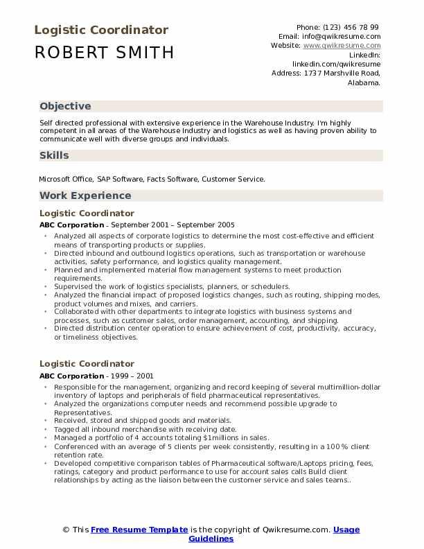 Logistic Coordinator Resume Model