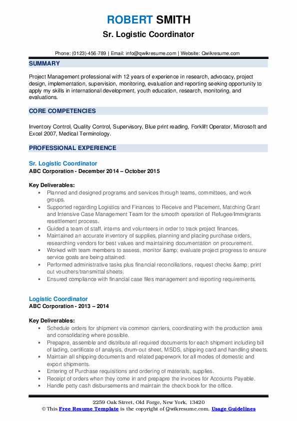 Sr. Logistic Coordinator Resume Model