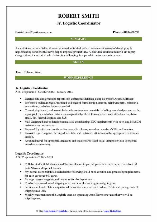 Jr. Logistic Coordinator Resume Model