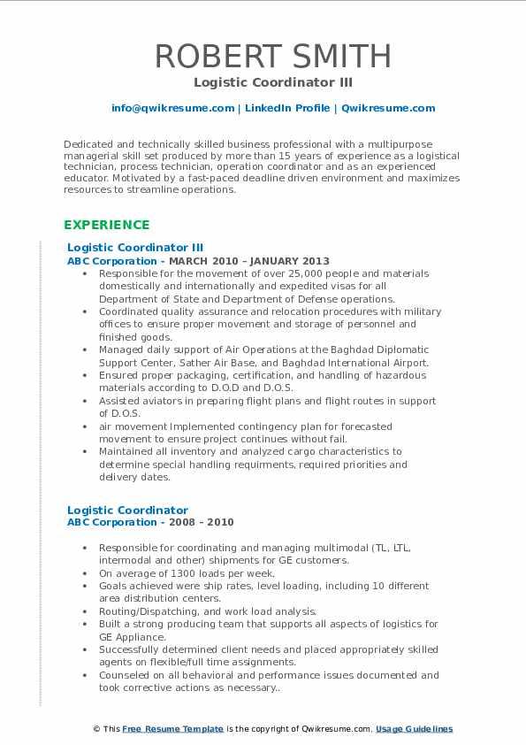 Logistic Coordinator III Resume Example