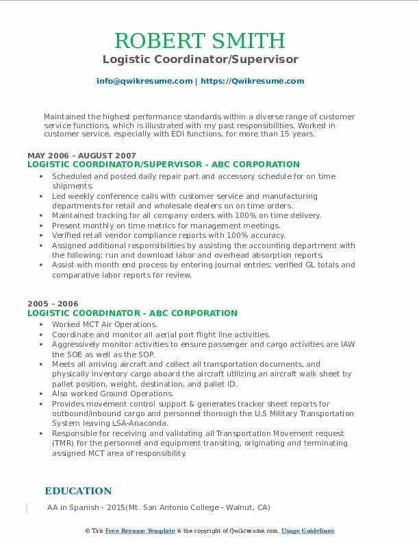Logistic Coordinator/Supervisor Resume Template